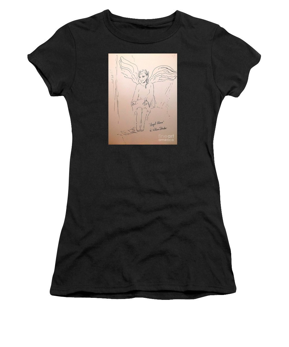 Angel Above Women's T-Shirt (Athletic Fit) featuring the drawing Angel Above by N Willson-Strader
