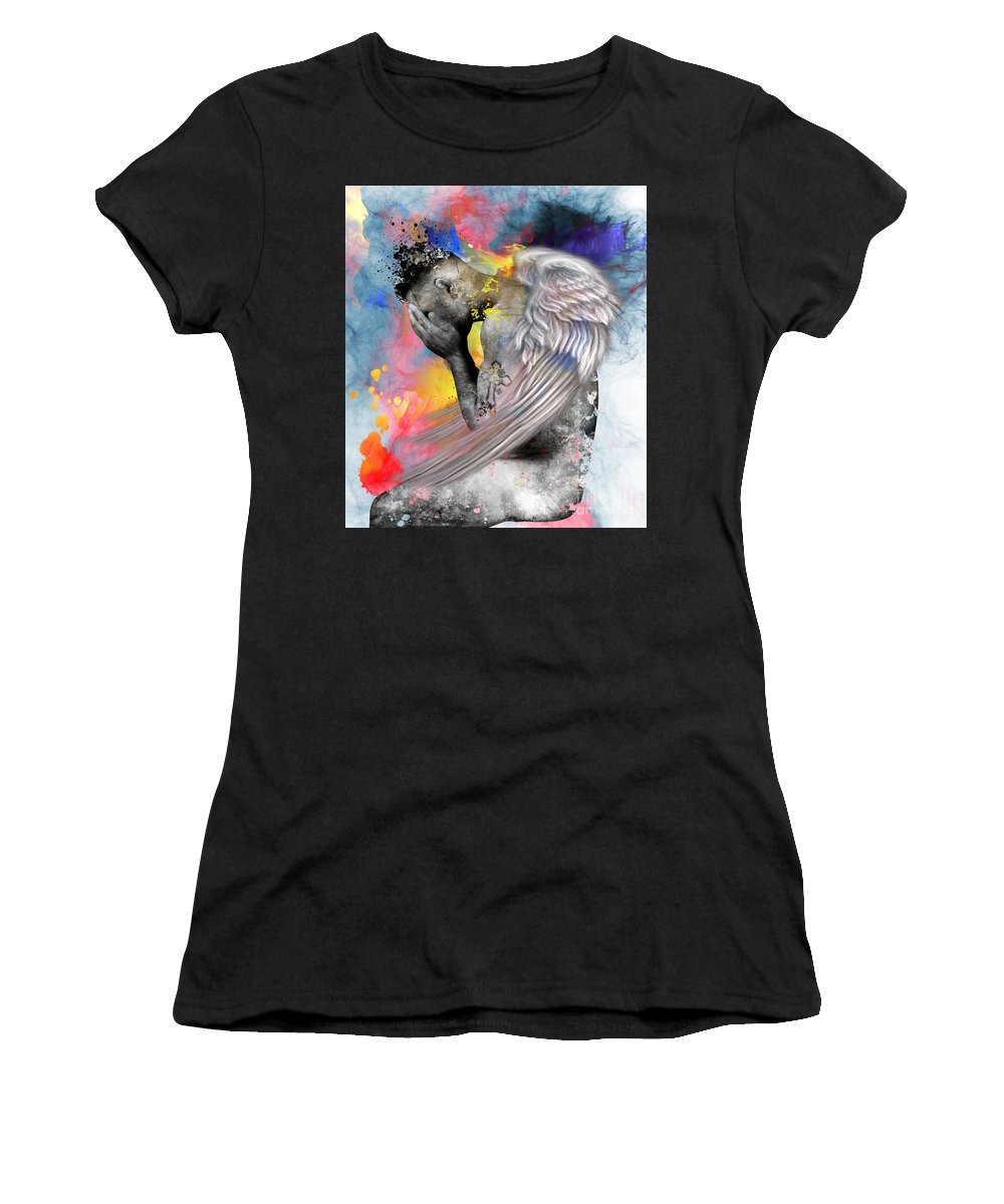 Mysterious Women's T-Shirt (Athletic Fit) featuring the painting Angel by Mark Ashkenazi