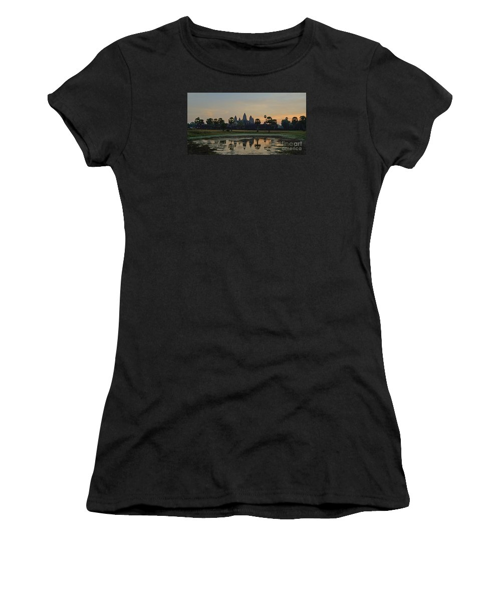 Fairy Tale Women's T-Shirt (Athletic Fit) featuring the photograph Angkor Wat Sunrise Pond by Tom Wurl