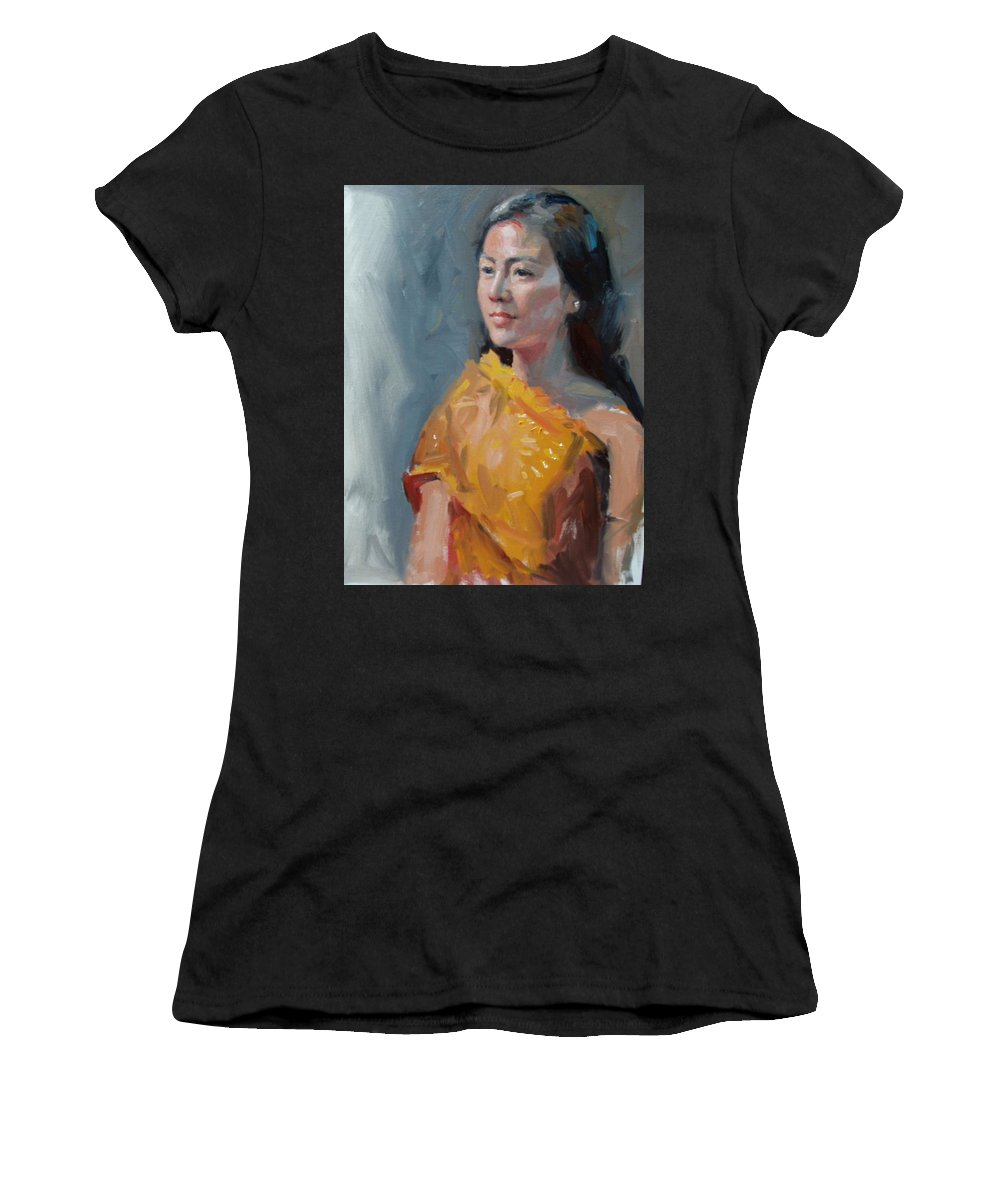 Portrait Women's T-Shirt (Athletic Fit) featuring the painting Anna by Dianne Panarelli Miller