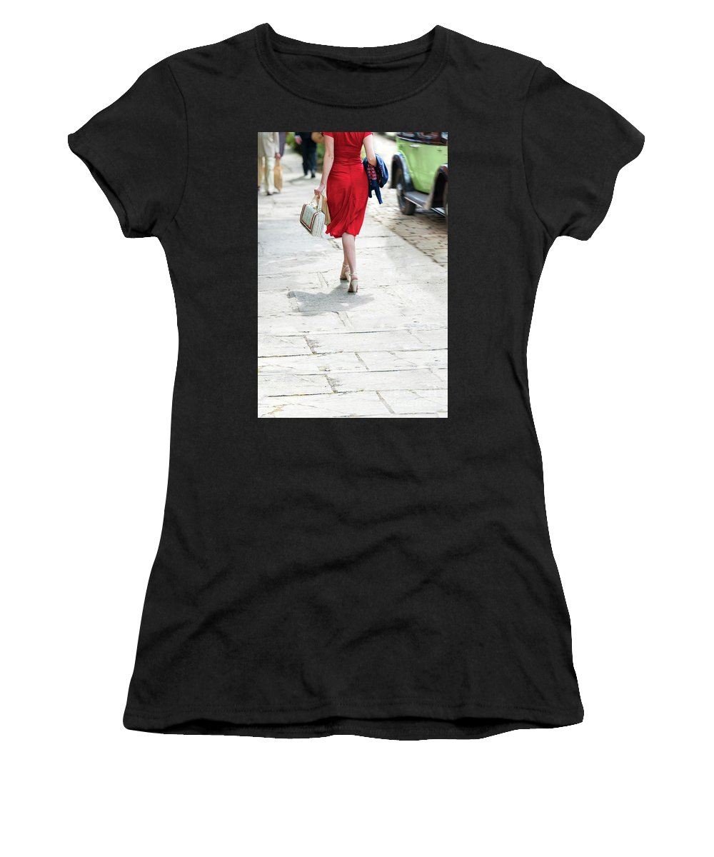 1940s Women's T-Shirt (Athletic Fit) featuring the photograph Anonymous 1940s Woman by Lee Avison