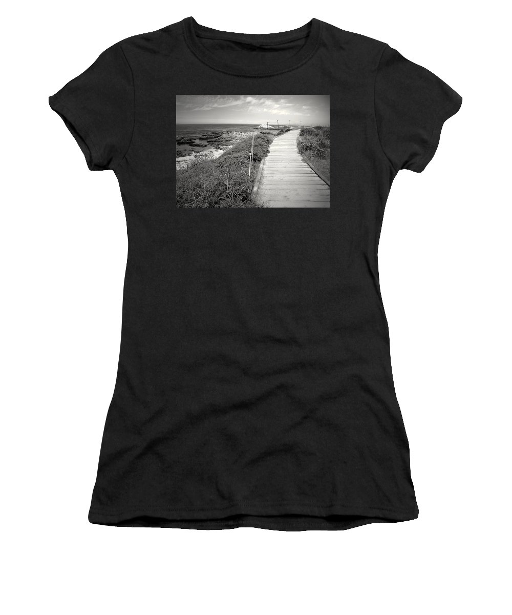 Asilomar Women's T-Shirt (Athletic Fit) featuring the photograph Another Asilomar Beach Boardwalk Black And White by Joyce Dickens