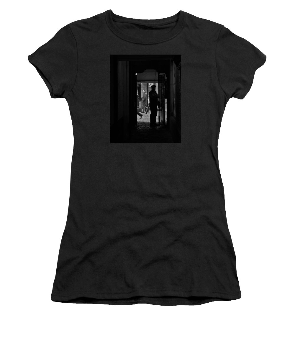 Black And White Women's T-Shirt (Athletic Fit) featuring the photograph Another Door Opens by Brandy Herren
