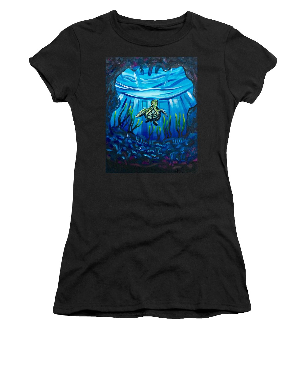 Under The Sea Ocean Life Marine Cold Tropical Warm Reef Sea Turtle View Seaweed Rocky Coral Reef Reflection Light Surface Glistening Swim Women's T-Shirt (Athletic Fit) featuring the painting Another World by Lori Teich