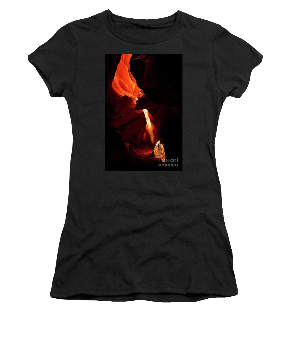 Antelope Women's T-Shirt (Athletic Fit) featuring the photograph Antelope Canyon #3 by Stanton Tubb