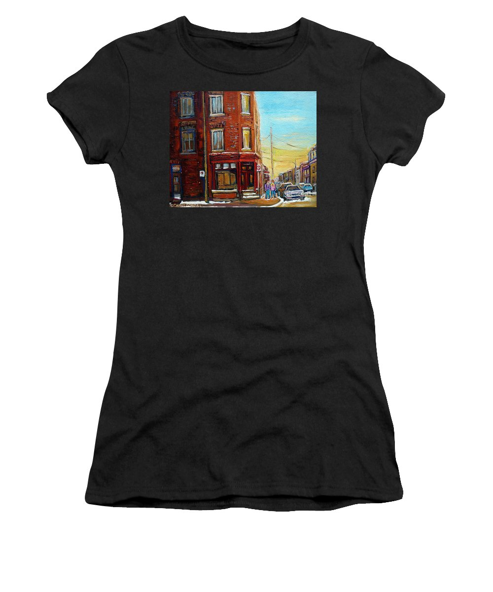 Montreal Women's T-Shirt featuring the painting Antique Shop In Saint Henri by Carole Spandau