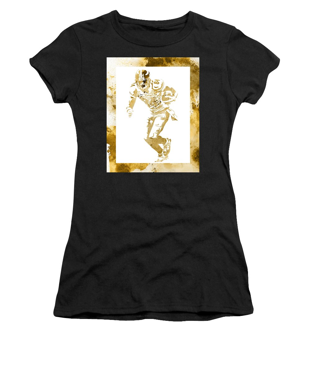Antonio Brown Women's T-Shirt (Athletic Fit) featuring the mixed media Antonio Brown Pittsburgh Steelers Water Color Art 4 by Joe Hamilton
