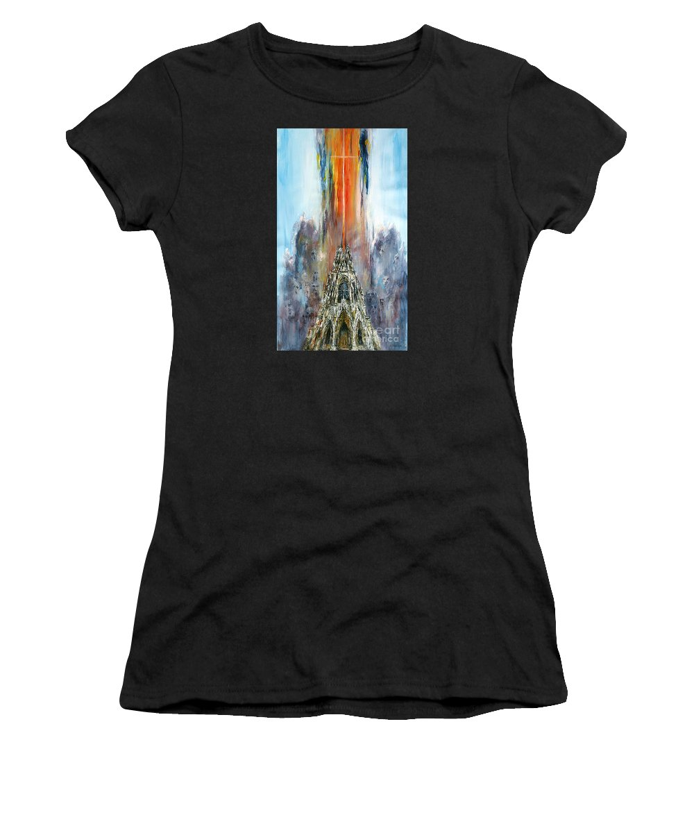 Symbolic Women's T-Shirt (Athletic Fit) featuring the painting Apocalypse by Arturas Slapsys