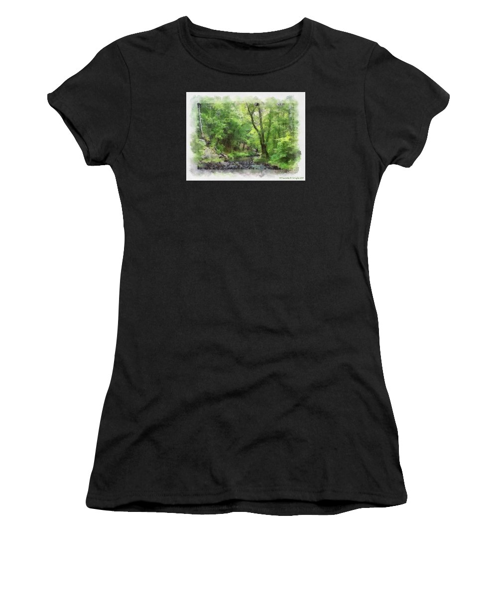 Wright Women's T-Shirt (Athletic Fit) featuring the photograph Appalachian Creek by Paulette B Wright