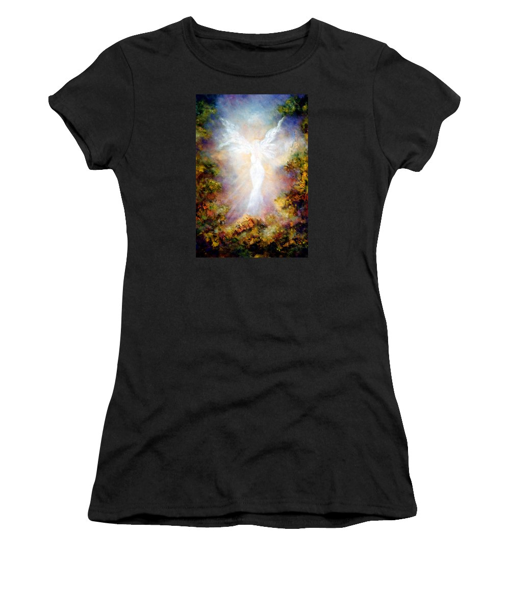 Angel Women's T-Shirt (Athletic Fit) featuring the painting Apparition II by Marina Petro