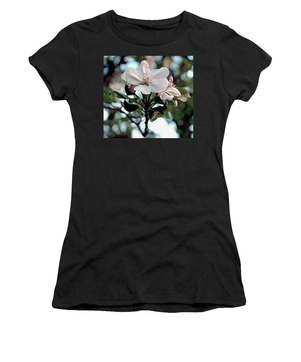 Flowers Women's T-Shirt (Athletic Fit) featuring the painting Apple Blossom Time by RC DeWinter