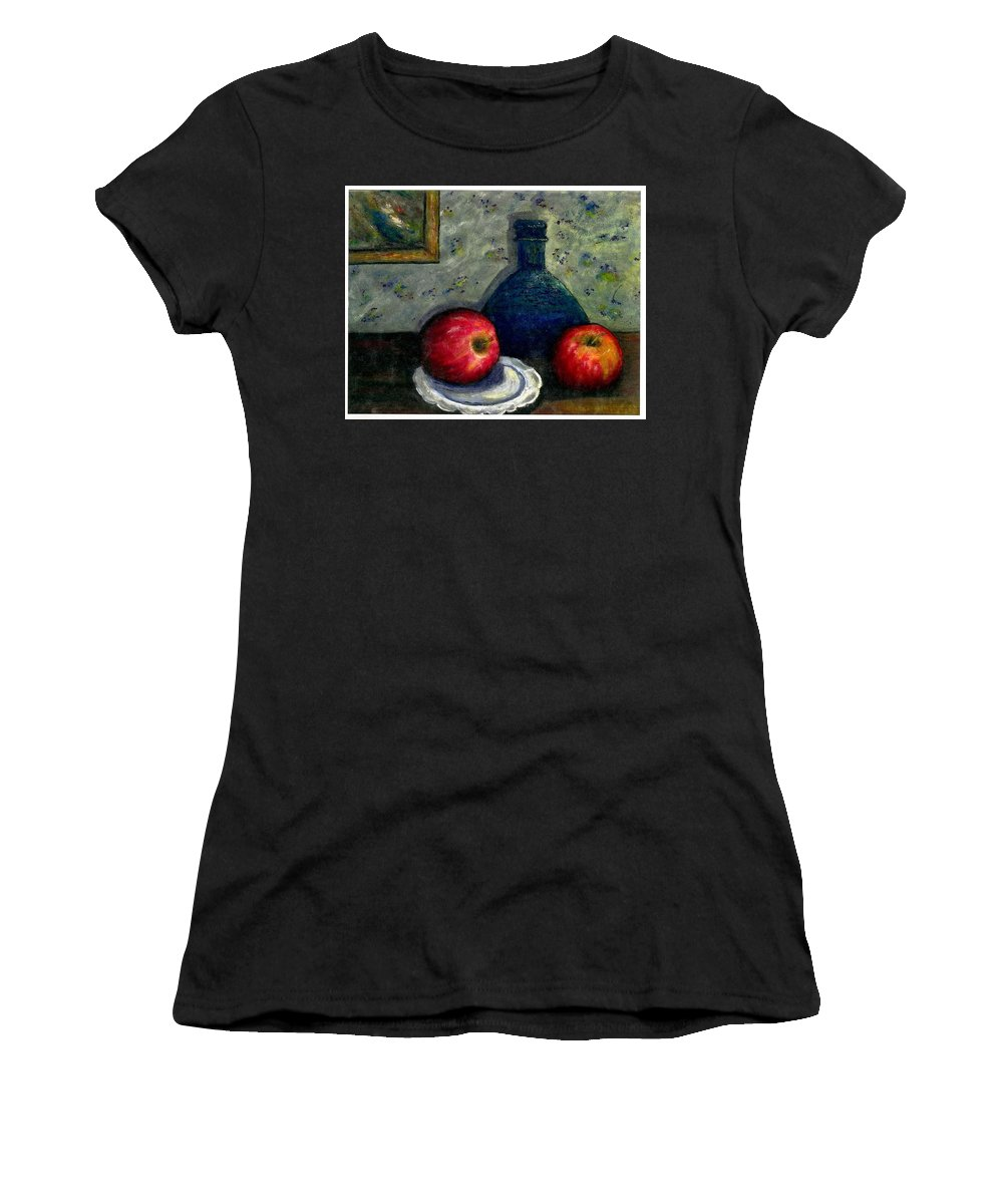 Still Life Women's T-Shirt (Athletic Fit) featuring the painting Apples And Bottles by Gail Kirtz