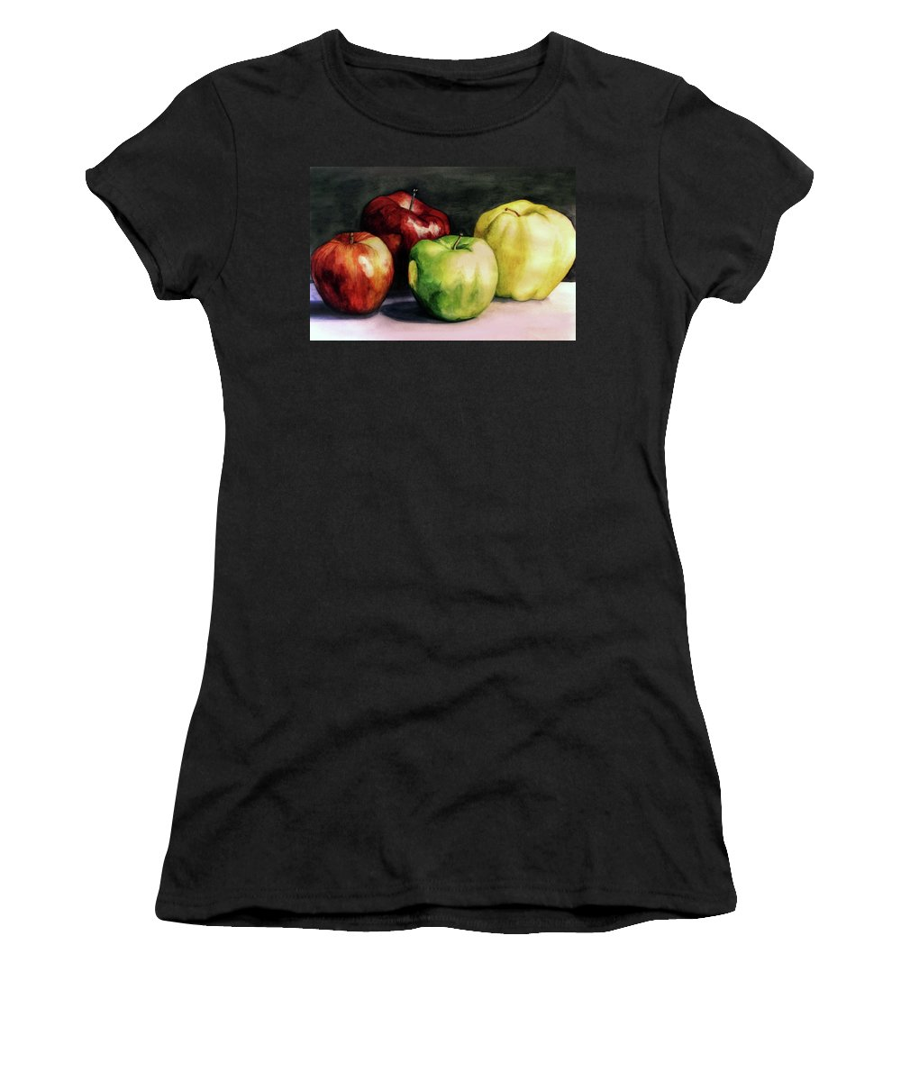 Women's T-Shirt featuring the painting Apples by Valentina Blinkova