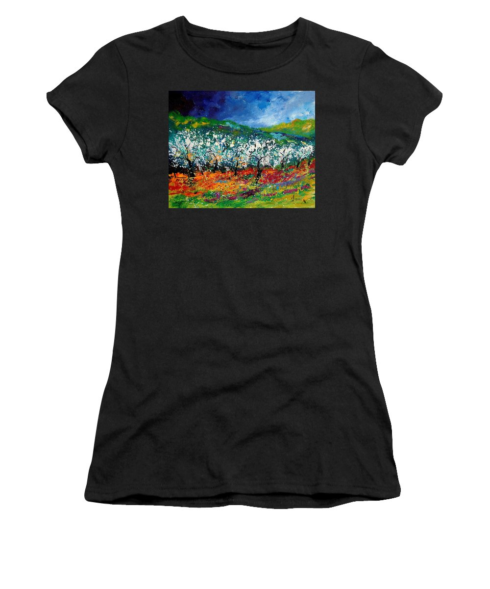 Spring Women's T-Shirt (Athletic Fit) featuring the painting Appletrees 4509070 by Pol Ledent