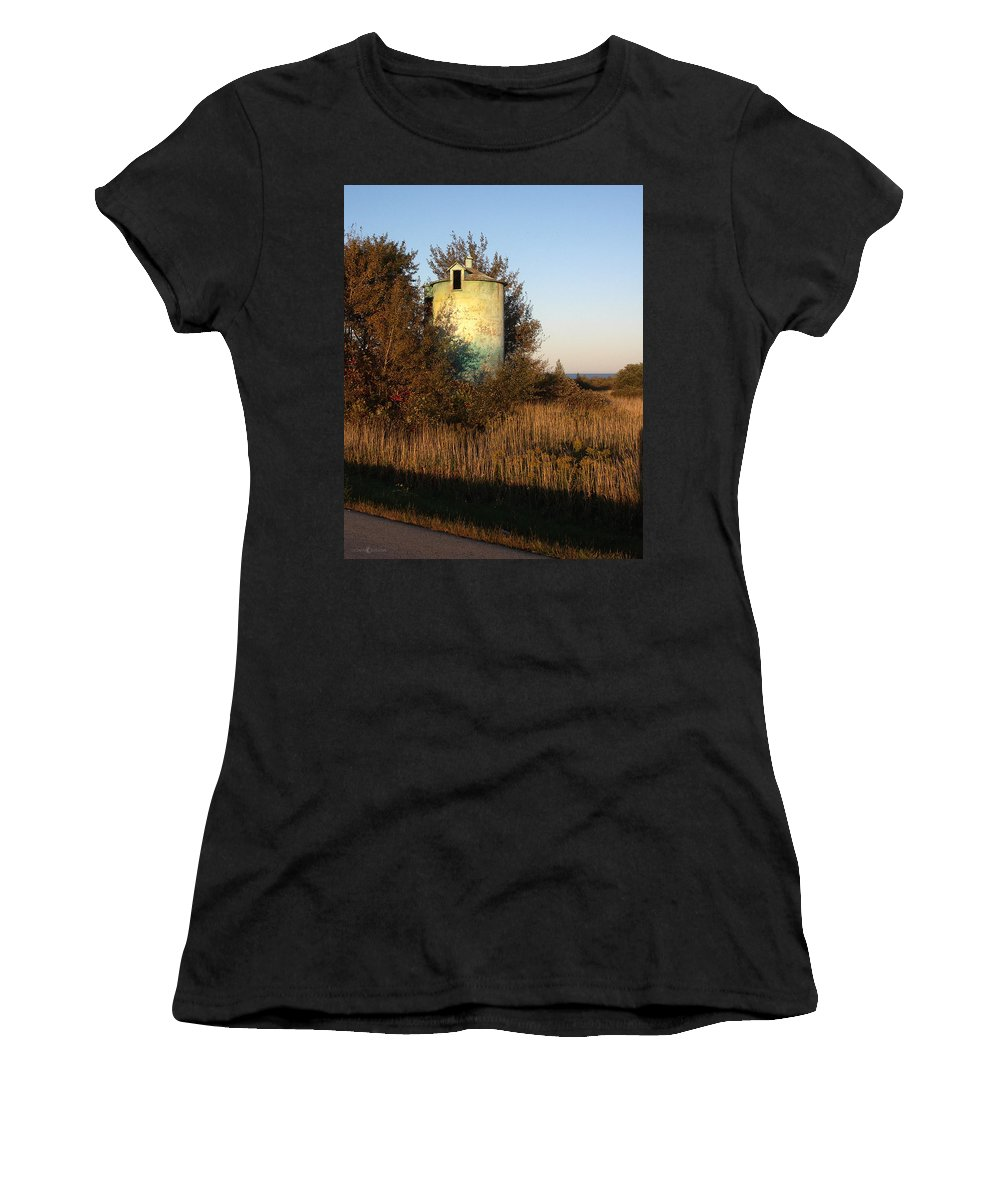 Silo Women's T-Shirt (Athletic Fit) featuring the photograph Aqua Silo by Tim Nyberg