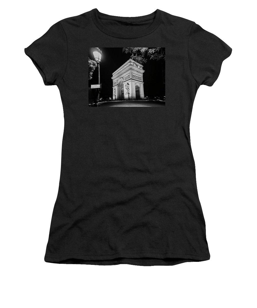 Arc Women's T-Shirt (Athletic Fit) featuring the photograph Arc De Triomphe Paris, France by Philip Enticknap