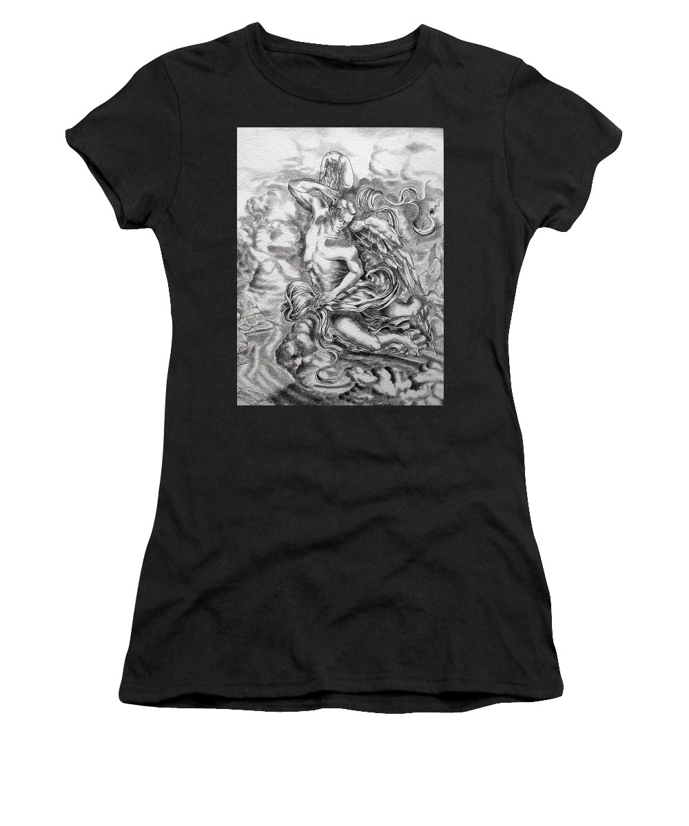 Angel Art Women's T-Shirt (Athletic Fit) featuring the drawing Arch Angel by Gary Renegar