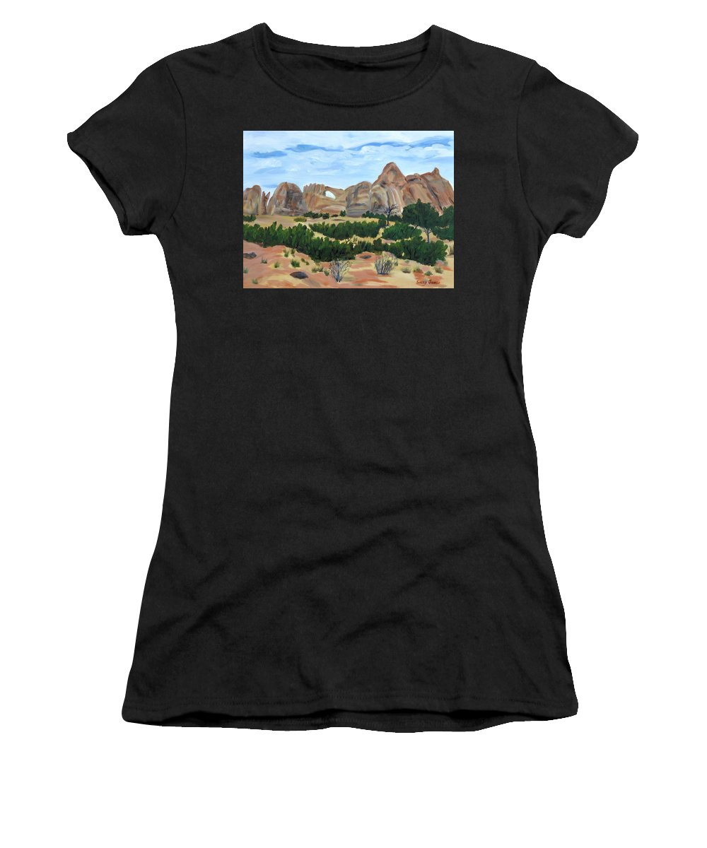 Arches National Park Women's T-Shirt featuring the painting Arch In Landscape by Sally Jones