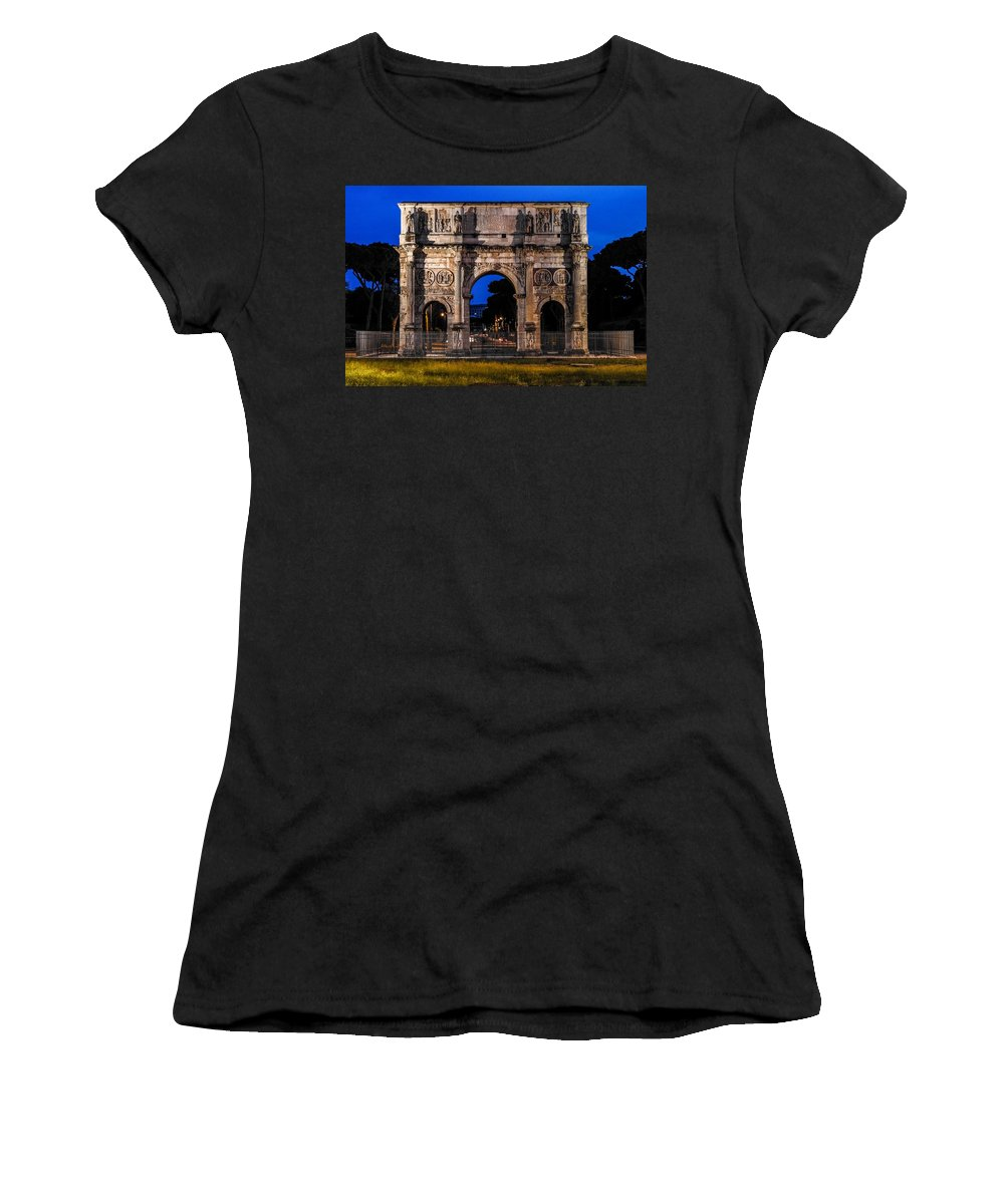 Italy Women's T-Shirt featuring the photograph Arch Of Constantine by Marilyn Burton