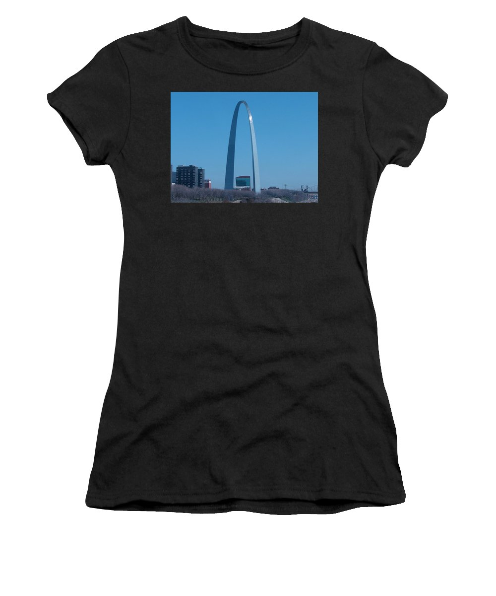 St Louis Women's T-Shirt (Athletic Fit) featuring the photograph Arch With Lumiere by J R Seymour