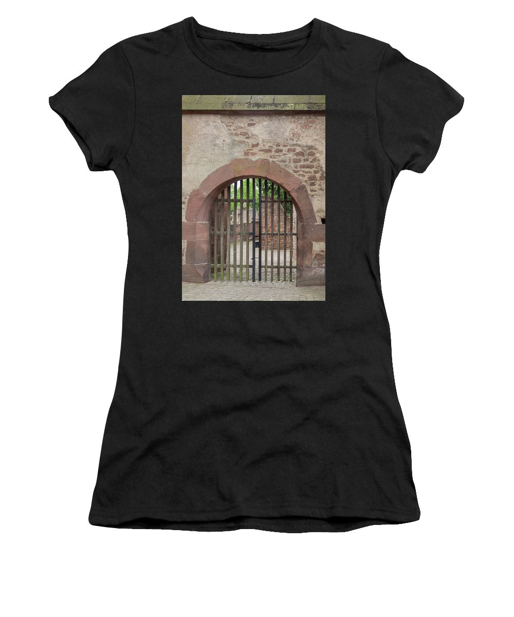 Heidelberg Women's T-Shirt featuring the photograph Arched Gate At Heidelberg Castle by Teresa Mucha