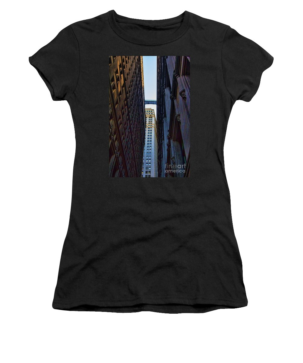 New York Women's T-Shirt featuring the photograph Architecture New York City The Crossing by Chuck Kuhn