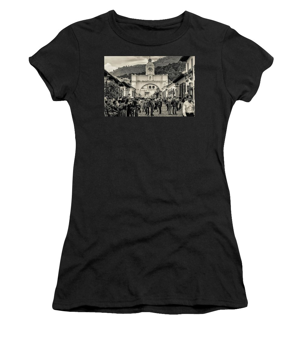 Antigua Guatemala Women's T-Shirt (Athletic Fit) featuring the photograph Arco De Santa Catalina - Antigua Guatemala - Guatemala Bnw by Totto Ponce