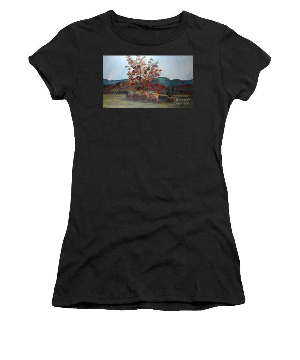 Autumn Women's T-Shirt featuring the painting Arkansas Autumn by Nadine Rippelmeyer