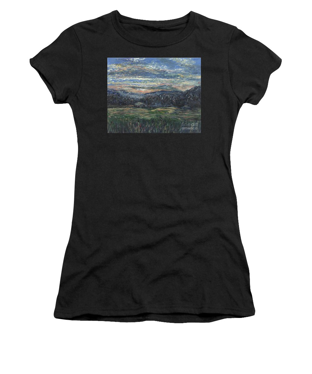 Impressionism Women's T-Shirt (Athletic Fit) featuring the painting Arkansas Sunrise by Nadine Rippelmeyer