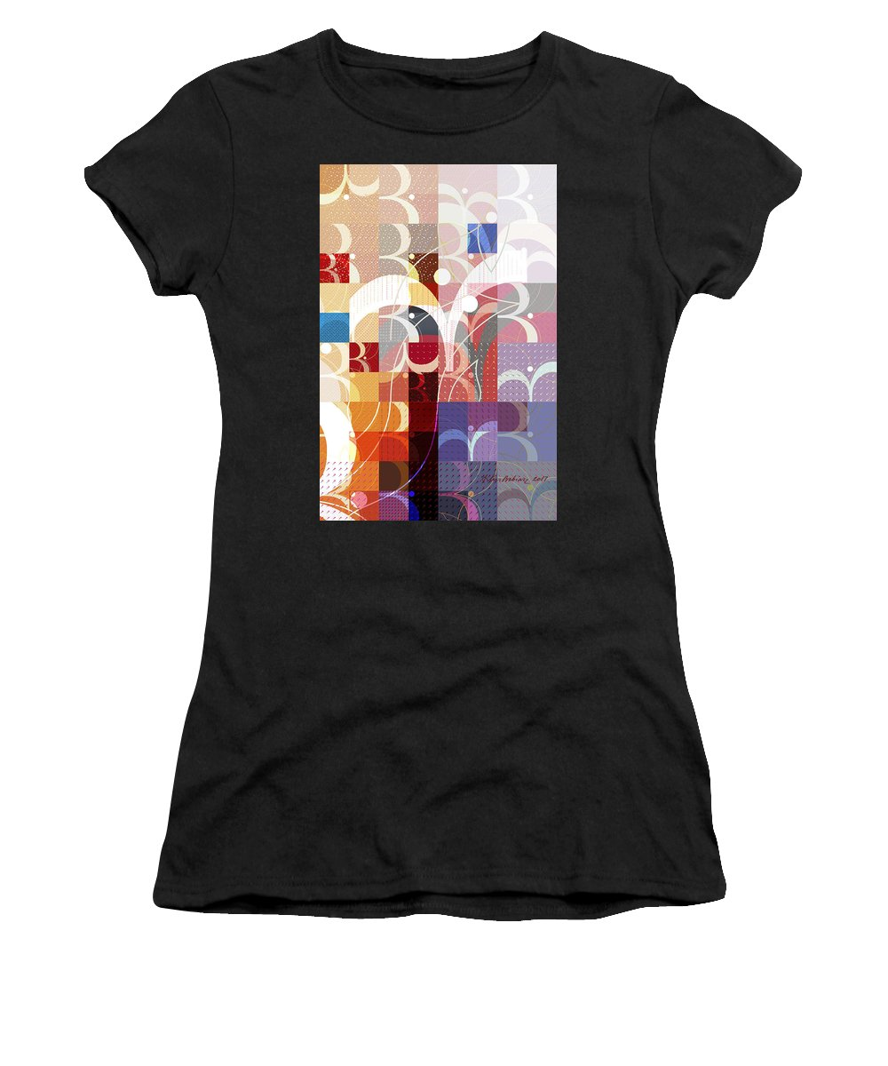 Fine Women's T-Shirt (Athletic Fit) featuring the digital art Arraygraphy - Sunset Inferno Triptych Part 3 by Arthur Babiarz