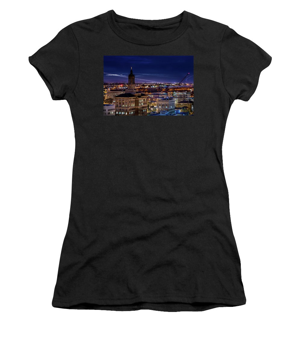 San Jose Women's T-Shirt (Athletic Fit) featuring the photograph Arriving Air Traffic At San Jose International Airport by Edward Nowak
