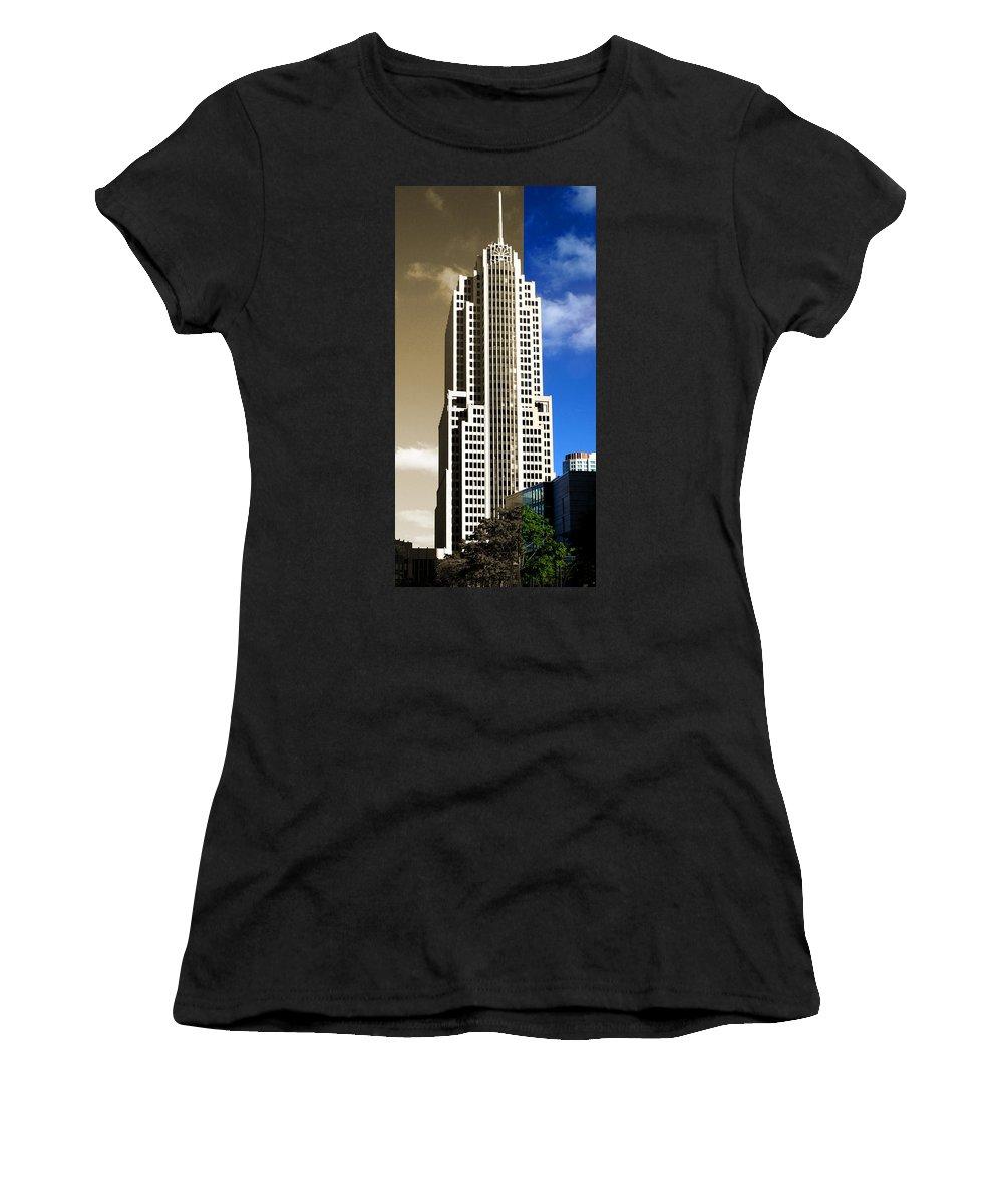Art Deco Women's T-Shirt (Athletic Fit) featuring the photograph Art Deco Nbc Tower by Patrick Malon