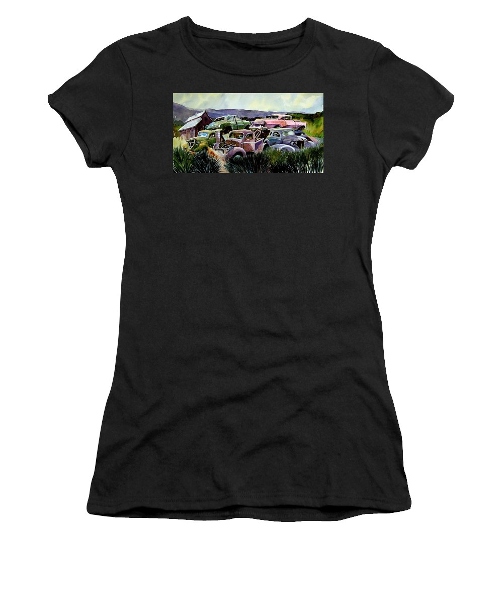 Cars Women's T-Shirt (Athletic Fit) featuring the painting Art In The Orchard by Ron Morrison