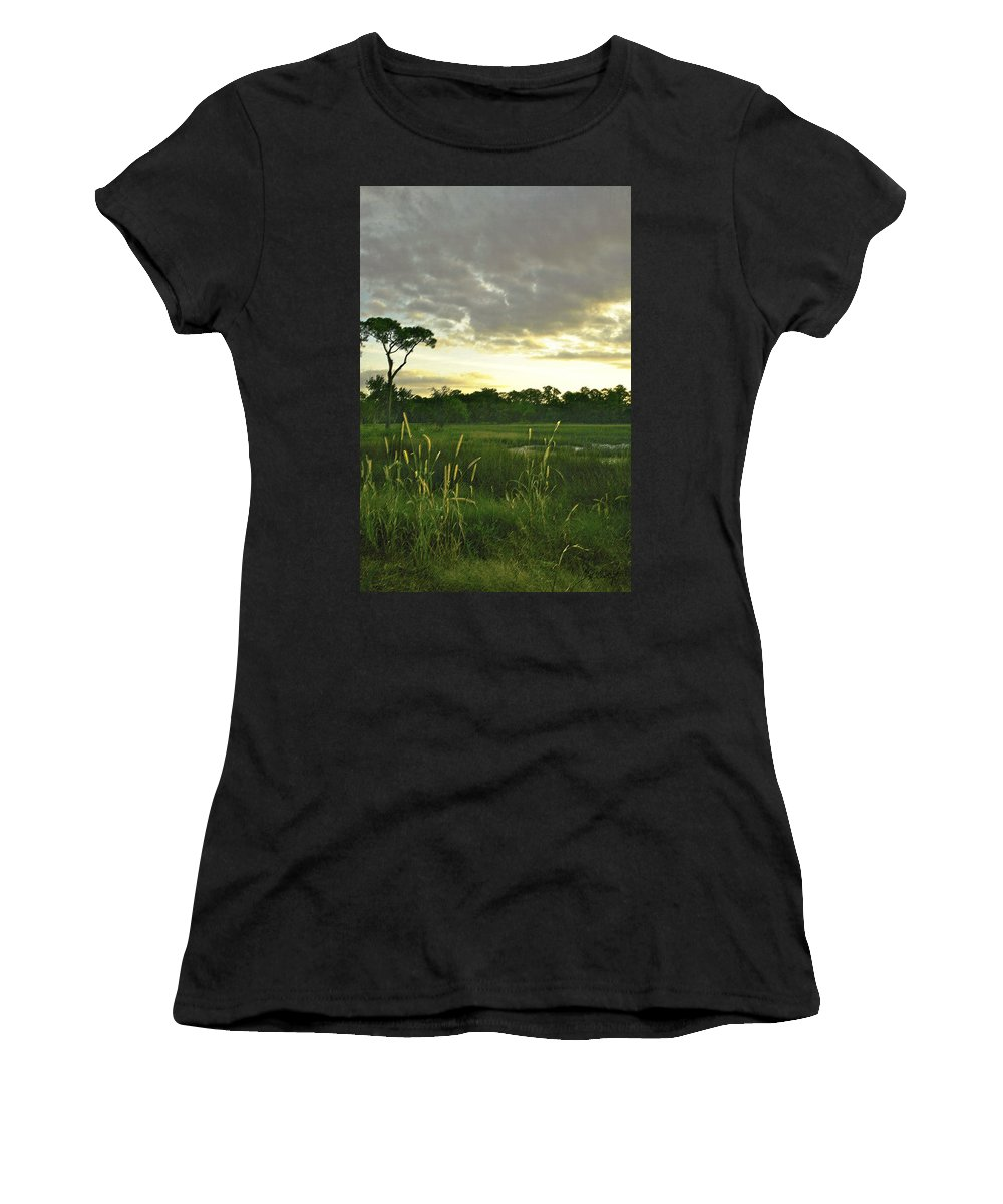Sunrise Women's T-Shirt (Athletic Fit) featuring the photograph Artistic Lush Marsh by Phill Doherty