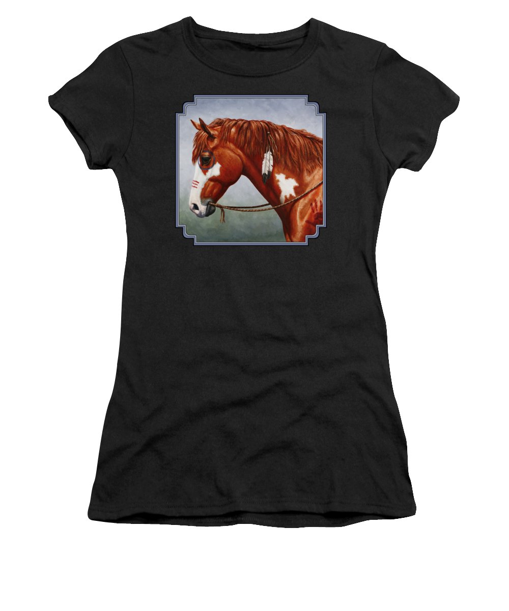 Horse Women's T-Shirt (Junior Cut) featuring the painting Native American War Horse by Crista Forest
