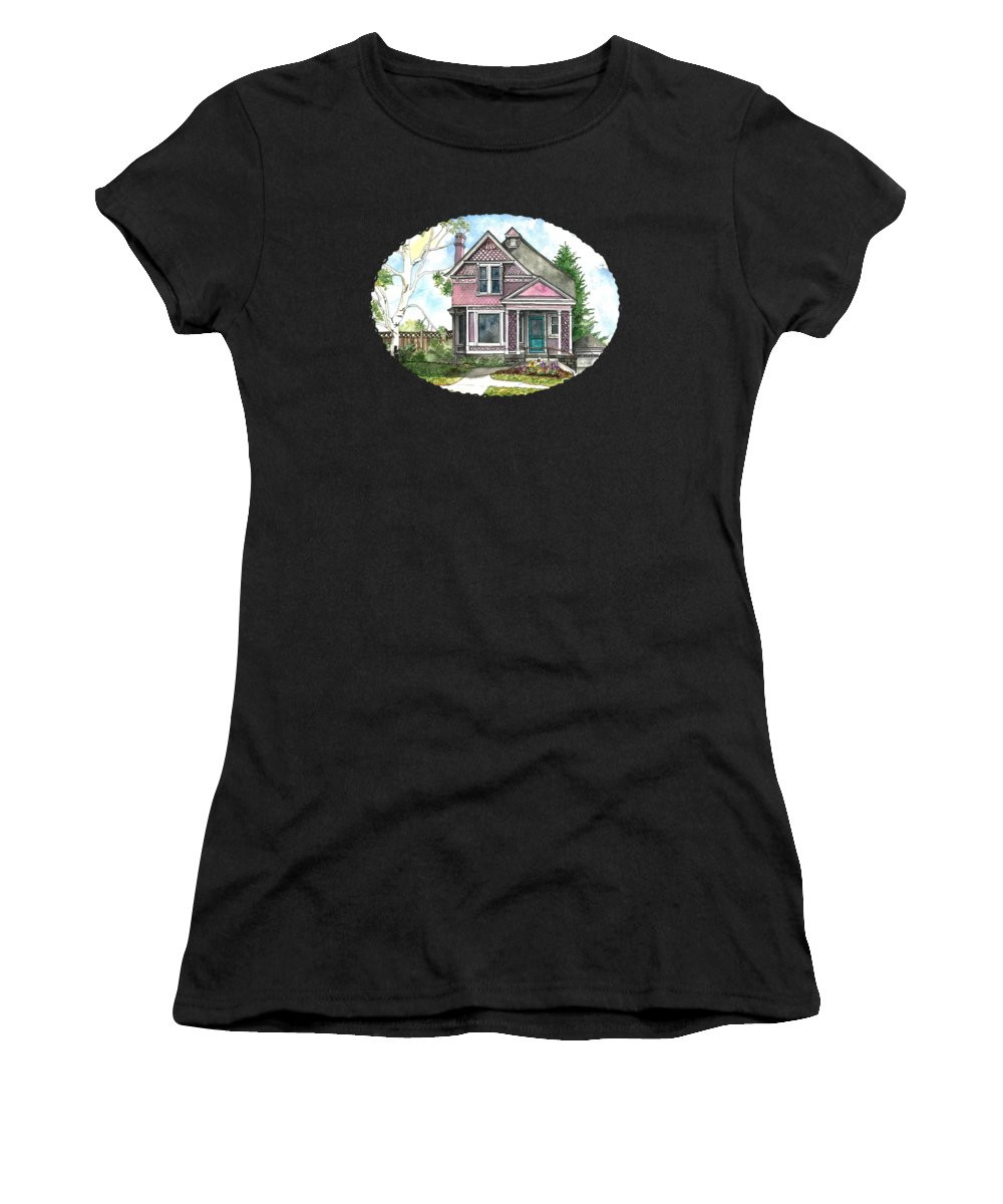 Vintage House Women's T-Shirt (Athletic Fit) featuring the painting The Violet Lady In Spring by Shelley Wallace Ylst