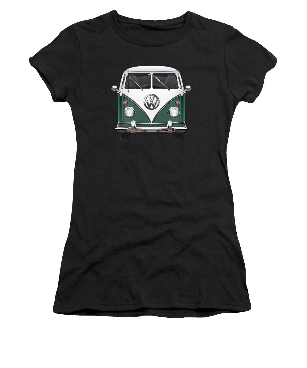 'volkswagen Type 2' Collection By Serge Averbukh Women's T-Shirt featuring the photograph Volkswagen Type 2 - Green And White Volkswagen T 1 Samba Bus Over Red Canvas by Serge Averbukh