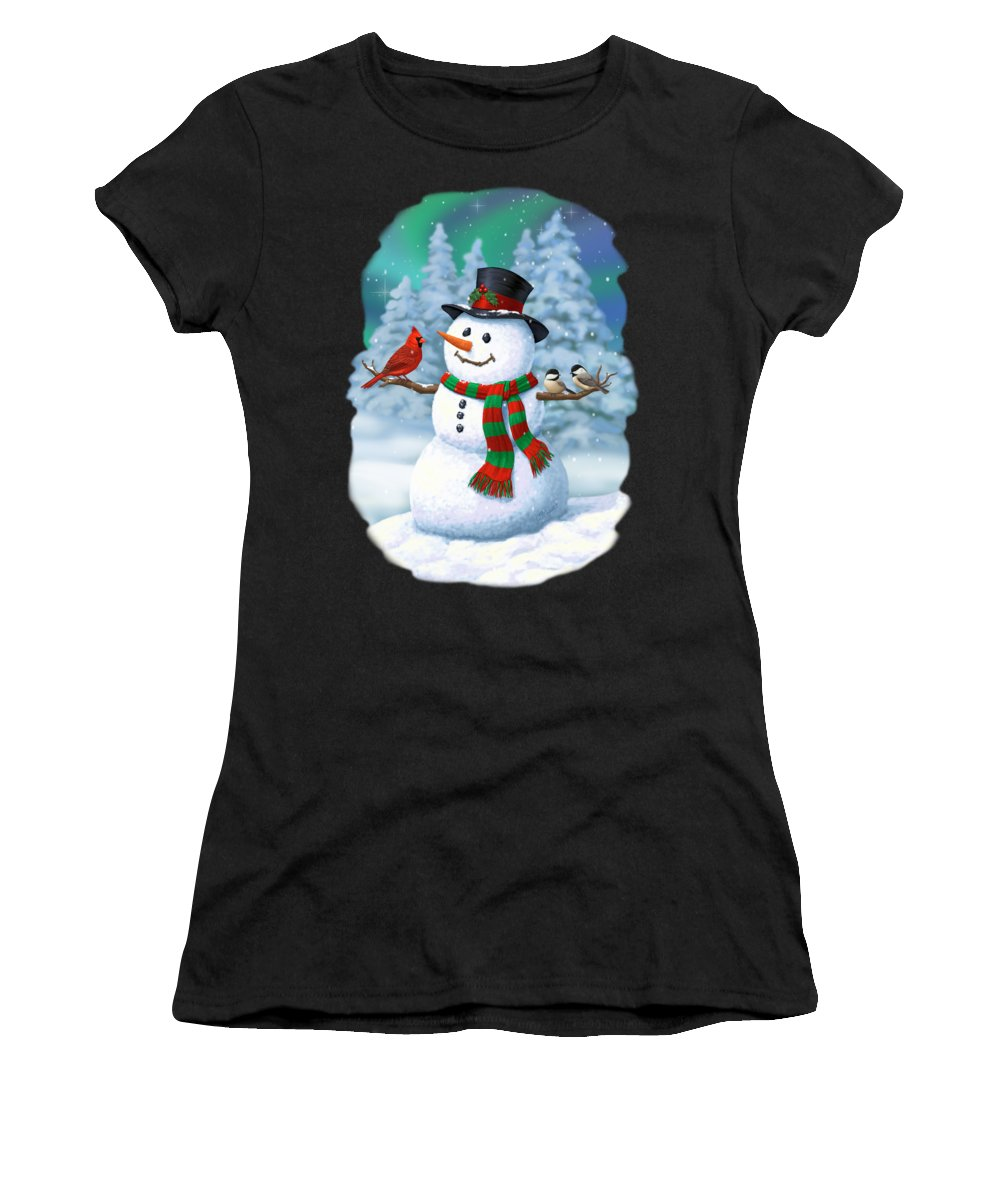 Winter Wonderland Women's T-Shirt featuring the painting Sharing The Wonder - Christmas Snowman And Birds by Crista Forest