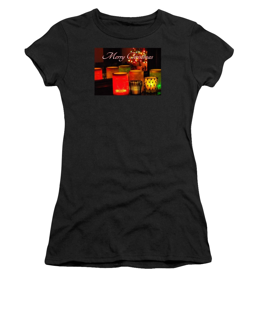 Christmas Women's T-Shirt (Athletic Fit) featuring the photograph Christmas Candles by Elaine Ferrell