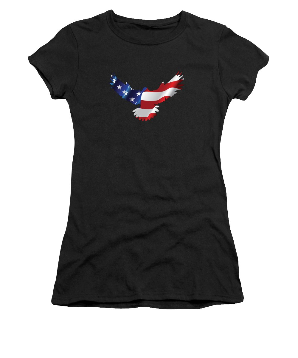 Eagle Women's T-Shirt featuring the digital art Stars And Striped Eagle by Ricky Barnard