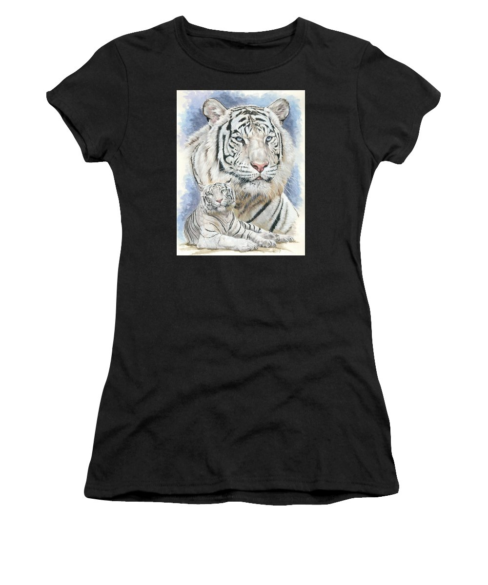 Big Cat Women's T-Shirt (Athletic Fit) featuring the mixed media Dignity by Barbara Keith