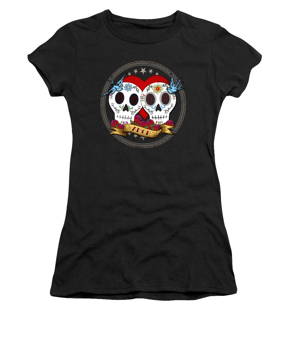 Sugar Skull Women's T-Shirt featuring the digital art Love Skulls II by Tammy Wetzel