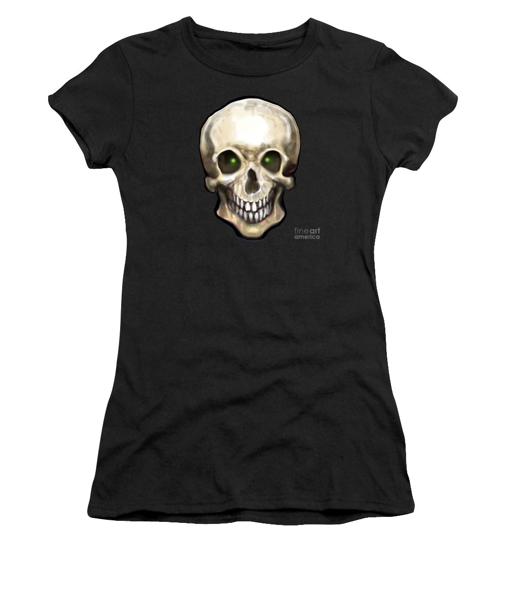 Skull Women's T-Shirt (Athletic Fit) featuring the painting Skull by Kevin Middleton