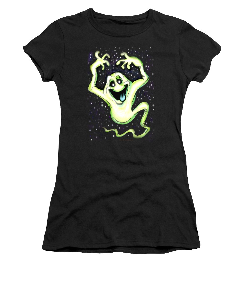 Halloween Women's T-Shirt (Athletic Fit) featuring the painting Ghost by Kevin Middleton