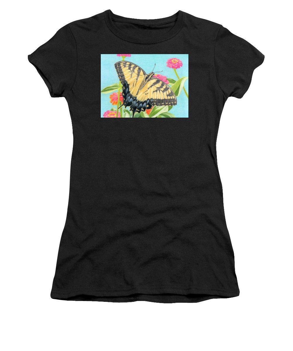 Swallowtail Butterflies Women's T-Shirt featuring the painting Swallowtail Butterfly And Zinnias by Sarah Batalka