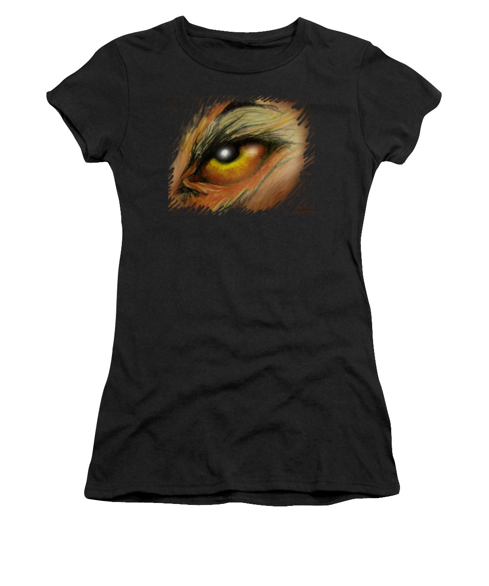 Eye Women's T-Shirt (Athletic Fit) featuring the painting Eye Of The Beast by Kevin Middleton