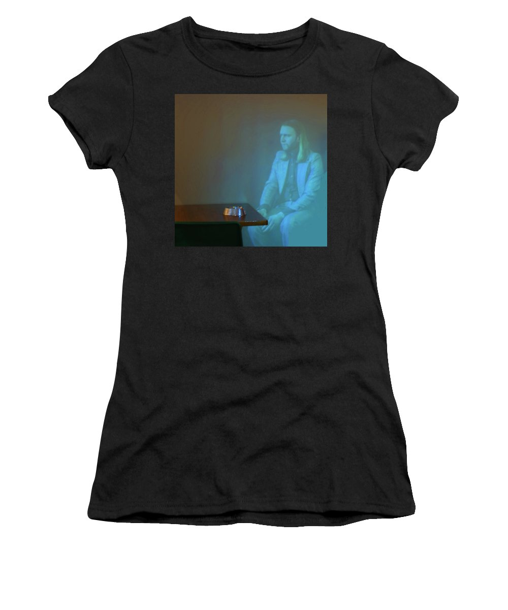 Ashtray Women's T-Shirt (Athletic Fit) featuring the photograph Ashtray On Table by Jarmo Honkanen