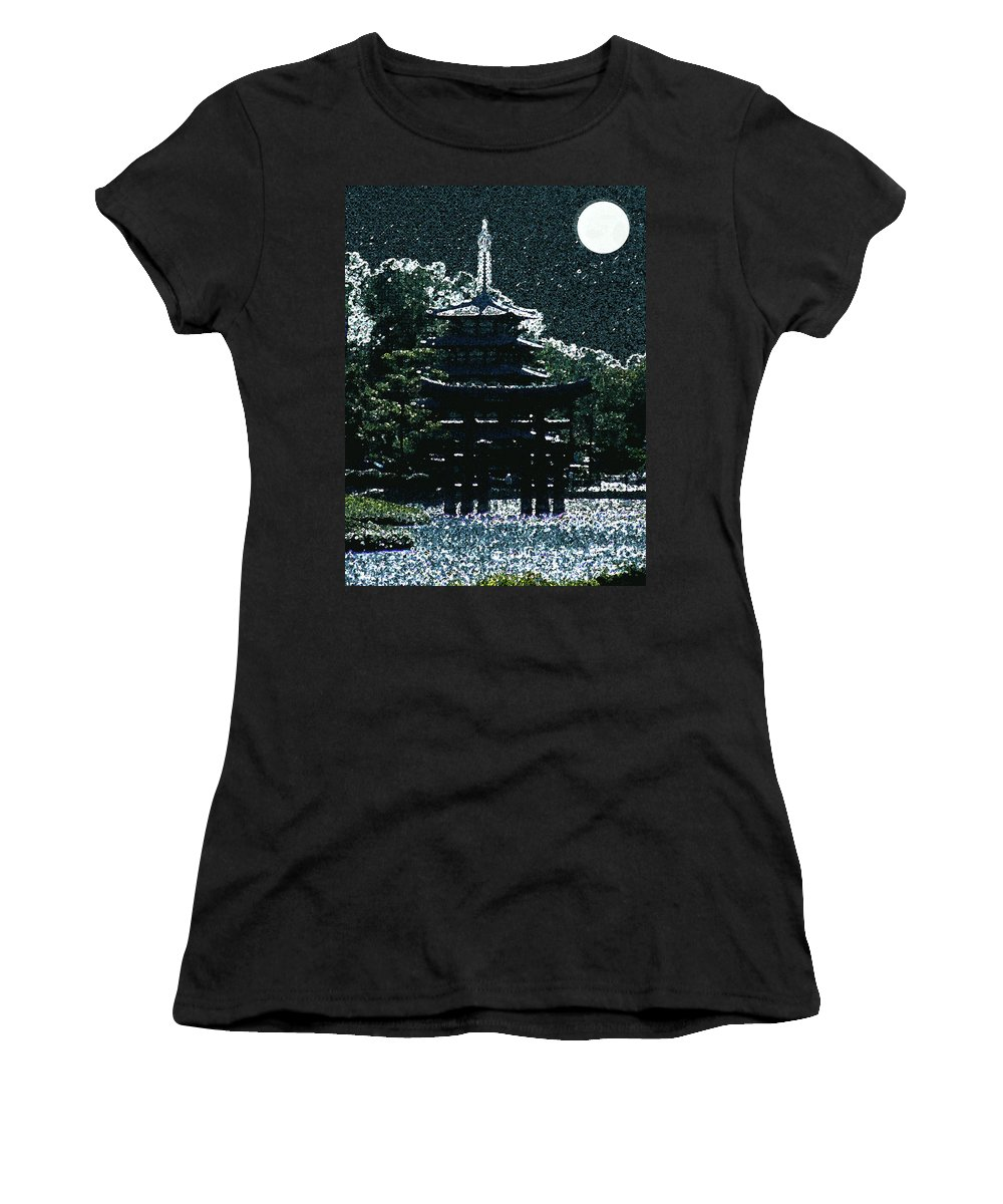 Full Moon Women's T-Shirt (Athletic Fit) featuring the mixed media Asian Moon by Shirley Heyn
