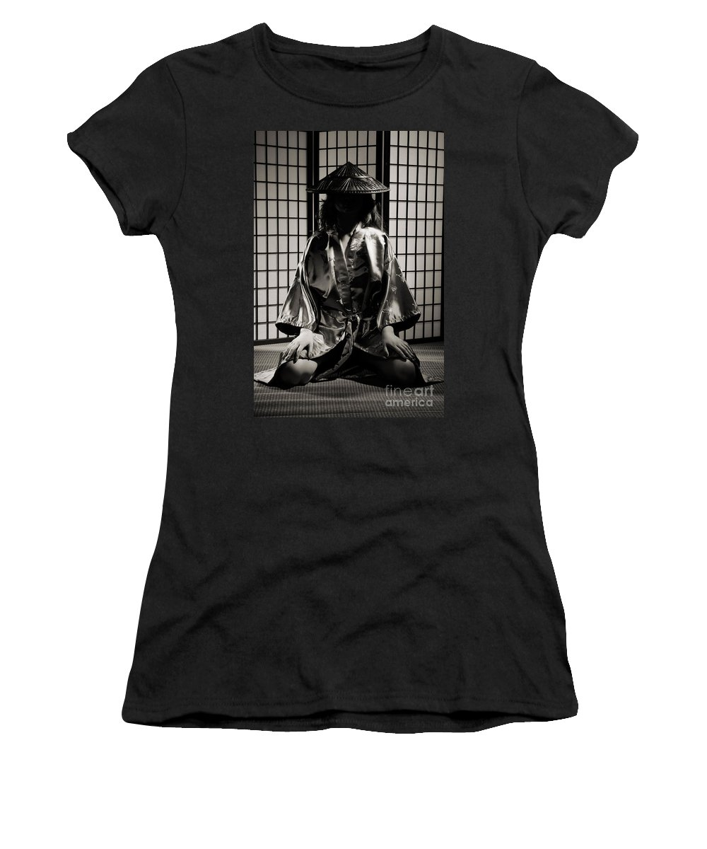 Asian Women's T-Shirt (Athletic Fit) featuring the photograph Asian Woman In Kimono by Oleksiy Maksymenko