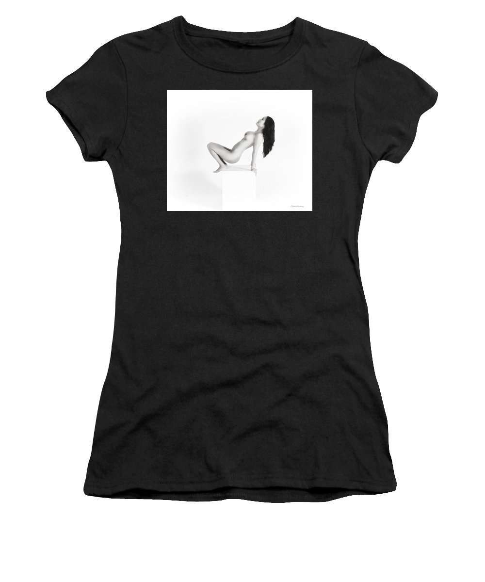 Asian Woman Women's T-Shirt (Athletic Fit) featuring the photograph Asian Woman On Cube I by Ramon Martinez
